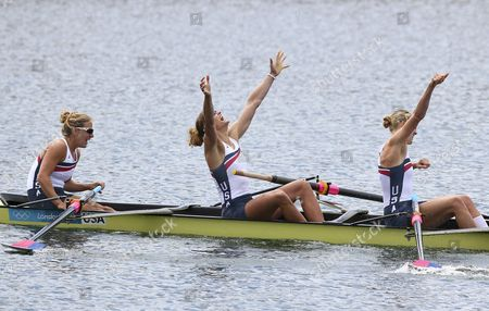 Usa's Erin Cafaro (l) Zsuzsanna Francia (c) and Esther Lofgren (r)celebrate Gold in the Women's Eight Final During the London 2012 Olympic Games Rowing Competition at the Eton Dorney Rowing Centre Near the Village of Dorney West of London Britain 02 August 2012 United Kingdom Dorney