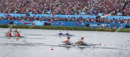 Great Britain's Gold Medalists in the Lightweight Women's Double Sculls Katherine Copeland (r) and Sophie Hosking Row Away From the Fleet in the Final During the London 2012 Olympic Games Rowing Competition at the Eton Dorney Rowing Centre Near the Village of Dorney West of London Britain 04 August 2012 United Kingdom Dorney