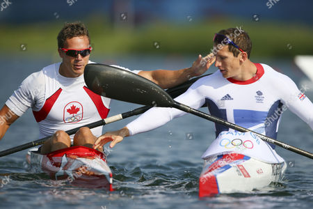 Bronze Medalist Canada's Mark De Jonge (l) Congratulates Gold Medalist Great Britain's Ed Mckeever (r) in the Men's Kayak Single (k1) 200m Final During the London 2012 Olympic Games Canoe Sprint Competition at the Eton Dorney Rowing Centre Near the Village of Dorney West of London Britain 11 August 2012 United Kingdom Dorney