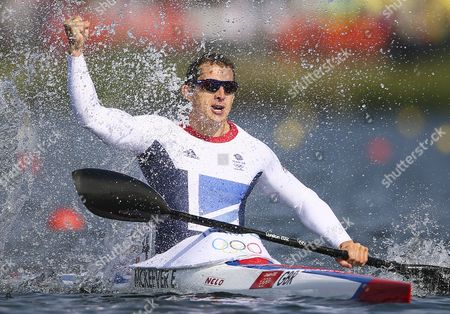 Great Britain's Ed Mckeever Celebrates Gold in the Men's Kayak Single (k1) 200m Final During the London 2012 Olympic Games Canoe Sprint Competition at the Eton Dorney Rowing Centre Near the Village of Dorney West of London Britain 11 August 2012 United Kingdom Dorney