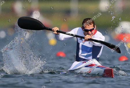 Great Britain's Ed Mckeever on His Way to Win Gold in the Men's Kayak Single (k1) 200m Final During the London 2012 Olympic Games Canoe Sprint Competition at the Eton Dorney Rowing Centre Near the Village of Dorney West of London Britain 11 August 2012 United Kingdom Dorney