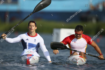 Silver Medalist Saul Craviotto Rivero (r) of Spain and Gold Medalist Ed Mckeever (l) of Great Britain React After the Kayak Single (k1) 200m Men's Canoe Sprint Final During the London 2012 Olympic Games Canoe Sprint Competition at the Eton Dorney Rowing Centre Near the Village of Dorney West of London Britain 11 August 2012 United Kingdom Dorney
