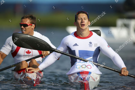 Bronze Medalist Canada's Mark De Jonge (l) and Gold Medalist Great Britain's Ed Mckeever (r) React After the Men's Kayak Single (k1) 200m Final During the London 2012 Olympic Games Canoe Sprint Competition at the Eton Dorney Rowing Centre Near the Village of Dorney West of London Britain 11 August 2012 United Kingdom Dorney