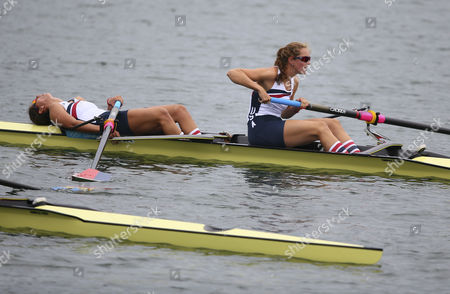 Stock Picture of Usa's Women's Pair Sara Hendershot (l) and Sarah Zelenka (r) React After Taking 4th Place in Women's Pair During During the London 2012 Olympic Games Rowing Competition at the Eton Dorney Rowing Centre Near the Village of Dorney West of London Britain 01 August 2012 United Kingdom Dorney