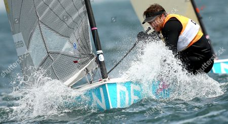 Danish Finn Class Athlete Jonas Hogh Christensen During the London 2012 Olympic Games Sailing Competition in Weymouth Britain 03 August 2012 United Kingdom Weymouth