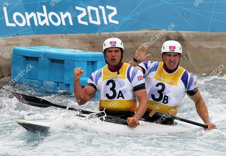 Tim Baillie (3a) and Etienne Stott of Great Britain Celebrate After Winning the Canoe Double (c2) Final at the London 2012 Olympic Games Canoe Slalom Competition at the Lee Valley White Water Centre Waltham Cross North of London Britain 02 August 2012 United Kingdom Waltham Cross