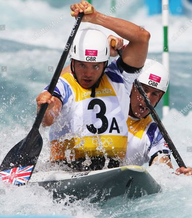 Tim Baillie (3a) and Etienne Stott of Great Britain on Their Way Winning the Canoe Double (c2) Final at the London 2012 Olympic Games Canoe Slalom Competition at the Lee Valley White Water Centre Waltham Cross North of London Britain 02 August 2012 United Kingdom Waltham Cross