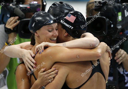 (l-r) Dana Vollmer Rebecca Soni (hidden) Allison Schmitt and Missy Franklin of the United States of America (usa) Celebrate a New World Record in the Women's 4x100m Medley Relay Final During the Swimming Competition Held at the Aquatics Center During the London 2012 Olympic Games in London England 4 August 2012 United Kingdom London