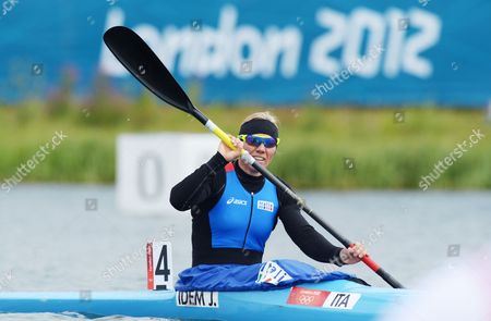 Italy's Josefa Idem After Her Run in the Kajak Single (k1) 500m Women Canoe Sprint Heat at the London 2012 Olympic Games Canoe Sprint Competition at the Eton Dorney Rowing Centre Near the Village of Dorney West of London Britain 07 August 2012 United Kingdom Dorney