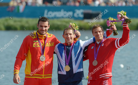 (l-r) Spain's Saul Craviotto Rivero (silver) Great Britain's Ed Mckeever (gold) and Canada's Mark De Jonge (bronze) on the Podium After the Men's Kayak Single (k1) 200m Final During the London 2012 Olympic Games Canoe Sprint Competition at the Eton Dorney Rowing Centre Near the Village of Dorney West of London Britain 11 August 2012 United Kingdom Dorney