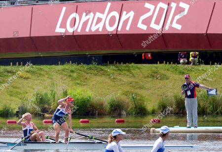 Great Britain's Katherine Copeland (l) and Sophie Hosking Celebrate After Winning the Gold Medal in the Lightweight Women's Double Sculls During the London 2012 Olympic Games Rowing Competition at the Eton Dorney Rowing Centre Near the Village of Dorney West of London Britain 04 August 2012 United Kingdom Dorney