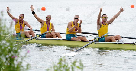 Australia's William Lockwood James Chapman Drew Ginn and Joshua Dunkley-smith Celebrate with Their Silver Medals After the Men's Four Final During the London 2012 Olympic Games Rowing Competition at the Eton Dorney Rowing Centre Near the Village of Dorney West of London Britain 04 August 2012 United Kingdom Dorney