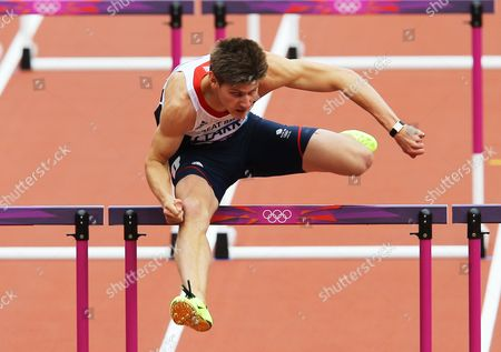 Lawrence Clarke of Britain Clears a Hurdle in the Heats For the Men's 110m Hurdles at the London 2012 Olympic Games Athletics Track and Field Events at the Olympic Stadium London Britain 07 August 2012 United Kingdom London