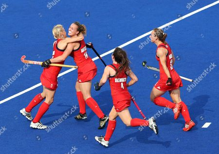 Stock Picture of Britain's Alex Danson (l) Celebrates a Goal with (l-r) Laura Bartlett Laura Unsworth and Chloe Rogers During the Field Hockey Bronze Medal Match at the London 2012 Olympic Games Field Hockey Competition London Britain 10 August 2012 United Kingdom London