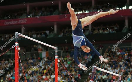 Stock Image of Britain's Elizabeth Tweddle in Action to Lace Third in the Women's Uneven Bars Final During the London 2012 Olympic Games Artistic Gymnastics Competition London Britain 06 August 2012 United Kingdom London
