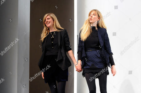 German Designers and Twin Sisters Annette and Daniela Felder Appear on the Catwalk at the Conclusion of the Show For Their Label Felder Felder During the London Fashion Week Fall/winter 2013 at Somerset House in London Britain 15 February 2013 the Fashion Week Runs From 15 to 19 February United Kingdom London