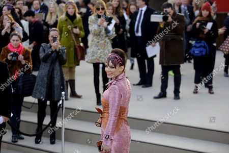 Stock Picture of Turkish Singer Nil Karaibrahimgil Arrives to the Burberry Prorsum Fashion Show During the London Fashion Week Fall/winter 2013 in London Britain 18 February 2013 the Fashion Week Runs From 15 to 19 February United Kingdom London