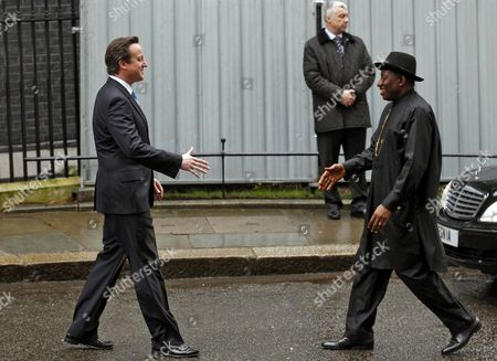 British Prime Minister David Cameron (l) Welcomes Nigerian President Goodluck Ebele Azikiwe Jonathan (r) Prior to Their Meeting at No 10 Downing Street in London Britain 11 February 2013 United Kingdom London