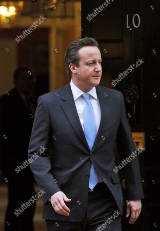 British Prime Minister David Cameron Arrives to Welcome Nigerian President Goodluck Ebele Azikiwe Jonathan (unseen) in Front of No 10 Downing Street Prior to Their Meeting in London Britain 11 February 2013 United Kingdom London