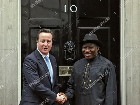 Nigerian President Goodluck Ebele Azikiwe Jonathan (r) and British Prime Minister David Cameron (l) Pose For the Media in Front of the No 10 Downing Street Prior to Their Meeting in London Britain 11 February 2013 United Kingdom London