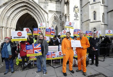 Demonstrators Hold Banners Outside the Royal Courts of Justice in London Britain 05 October 2012 Babar Ahmad and Syed Talha Ahsan Along with Radical Islamic Cleric Abu Hamza Al-masri and Two Other Terror Suspects Are Expected to Find out if They Have Succeeded in Their Latest Legal Move to Avoid Extradition From Britain to the Usa to Stand Trial on Terrorism Charges United Kingdom London