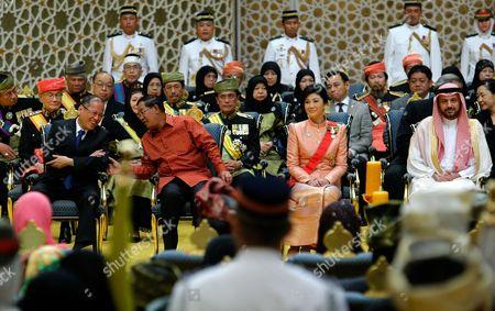 (l-r) First Row Sitting: Philippine President Benigno Aquino Iii Cambodia's Pm Hun Sen Thai Prime Minister Yingluck Shinawatra and Saudi Arabia's Prince Faisal Bin Saud Bin Abdul Mohsen Bin Abdul Aziz Attending the Wedding Ceremony of Princess Hafizah Sururul Bolkiah and Pengiran Muhd Ruzaini Pengiran Mohd Yakub at Nurul Iman Palace in Bandar Seri Begawan Brunei Darussalam 23 September 2012 the Ceremony is the Highlight of the Week Long Ceremony Brunei Darussalam Bandar Seri Begawan