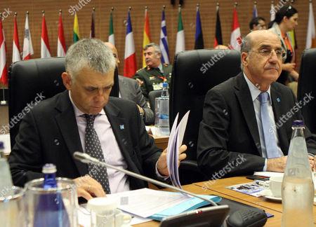 Cyprus' Defence Minister Demetris Eliades (r) and Maciej Popowski ( L) Deputy Secretary General European External Action Service (eeas) Attend the Eu Defense Ministers Council Informal Meeting in Nicosia Cyprus 27 September 2012 Cyprus Nicosia