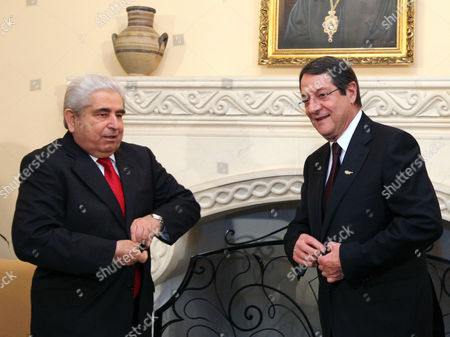 New Cypriot President Nicos Anastasiades (r) Talks with Outgoing President Demetris Christofias (l) at the Presidential Palace in Nicosia Cyprus 28 February 2013 Anastasiades was Elected President of Cyprus 24 February 2013 and Will Serve a Five-year Term in Office Cyprus Nicosia