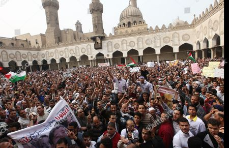 Egyptians Muslims Brotherhood Supporters Demonstrate to Condemn Israel's Air Strikes on the Gaza Strip at Al Azhar Mosque in Cairo Egypt 16 November 2012 Thousands of Egyptians Demonstrated Against the Israeli Attacks Following Friday Prayers in the Al Azhar Mosque in Cairo As President Mohammed Morsi Said on 16 November That Egypt 'Will not Leave Gaza on Its Own ' After He Sent His Prime Minister Hisham Qandil to the Enclave in a Show of Solidarity Egypt Cairo