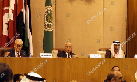(l-r) Un-arab League Special Envoy to Syria Lakhdar Brahimi Arab League Secretary General Nabil Al-arabi and Qatari Prime Minister and Foreign Minister Sheikh Hamad Bin Jassim Bin Jabr Al-thani Attend the Meeting of Arab Ministerial Committee on Syria at the Arab League's Headquarters in Cairo Egypt 12 November 2012 the Meeting is Held a Day After Opposition Groups Announced the Formation of a Broad-based Coalition Against the Government of President Bashar Al-assad Egypt Cairo
