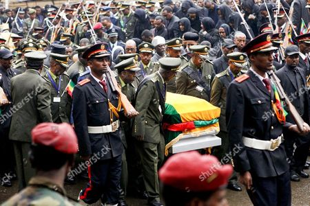 Military Officers Carry the Coffin During the State Funeral For Prime Minister Meles Zenawi in the Capital Addis Ababa Ethiopia 02 September 2012 Reports State That Tens of Thousands of People Attended the Funeral of Ethiopian Premier Meles Zenawi who Had Been Prime Minister Since 1995 and Died on 21 August 2012 in Belgium at the Age of 57 Ethiopia Addis Ababa