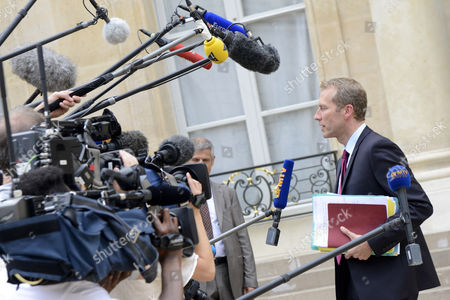 French Junior Minister For Agriculture Agribusiness and Forest Guillaume Garot (r) Speaks to Journalists As He Leaves the Elysee Presidential Palace After the Weekly Cabinet Meeting in Paris 01 August 2012 France Paris