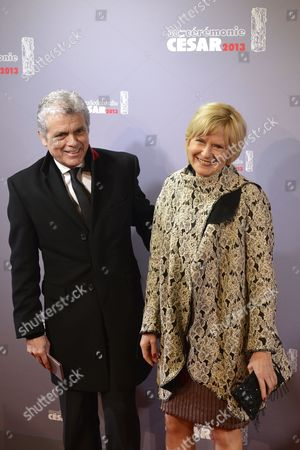 French Journalists Claude Serillon (l) and His Wife Catherine Ceylac (r) Arrive For the 38th Annual Cesar Awards Ceremony Held at the Chatelet Theatre in Paris France 22 February 2013 France Paris