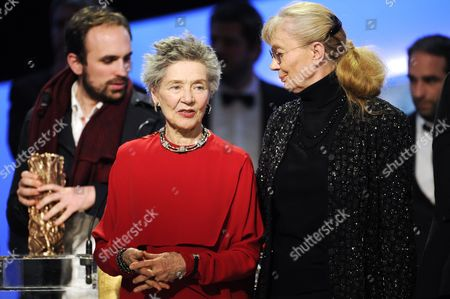 French Actress Emmanuelle Riva (r) Speaks to German-french Producer Margaret Menegoz (l) on Stage During the 38th Annual Cesar Awards Ceremony Held at the Chatelet Theatre in Paris France 22 February 2013 France Paris