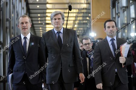French Agriculture Minister Stephane Le Foll (c) French Junior Minister For Social and Solidarity Economy Benoit Hamon (r) and French Junior Minister For the Agroalimentary Industry Guillaume Garot (l) Walks Together Prior to Holding a Press Conference at Bercy in Paris France 14 February 2013 to Give Their Conclusions Regarding the Scandal Over Horse Meat Found in Products Labelled As Beef France Paris