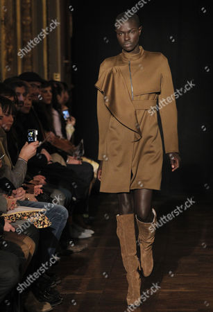 A Model Presents a Creation by Dutch Designer Steffie Christiaens During the Paris Fashion Week in Paris France 26 February 2013 the Presentation of the Ready to Wear Collections Fall / Winter 2013-2014 Runs From 26 February to 03 March France Paris