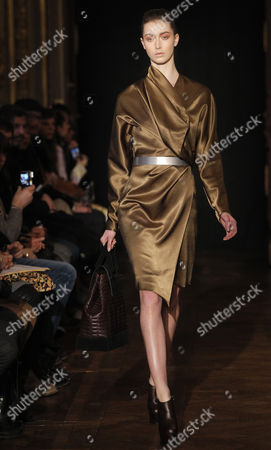Stock Picture of A Model Presents a Creation by Dutch Designer Steffie Christiaens During the Paris Fashion Week in Paris France 26 February 2013 the Presentation of the Ready to Wear Collections Fall / Winter 2013-2014 Runs From 26 February to 03 March France Paris