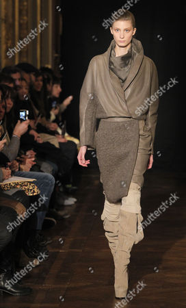 Stock Image of A Model Presents a Creation by Dutch Designer Steffie Christiaens During the Paris Fashion Week in Paris France 26 February 2013 the Presentation of the Ready to Wear Collections Fall / Winter 2013-2014 Runs From 26 February to 03 March France Paris