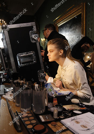 A Model Has Her Make-up Done Backstage Before the Show of Dutch Designer Steffie Christiaens During the Paris Fashion Week in Paris France 26 February 2013 the Presentation of the Ready to Wear Collections Fall / Winter 2013-2014 Runs From 26 February to 03 March France Paris