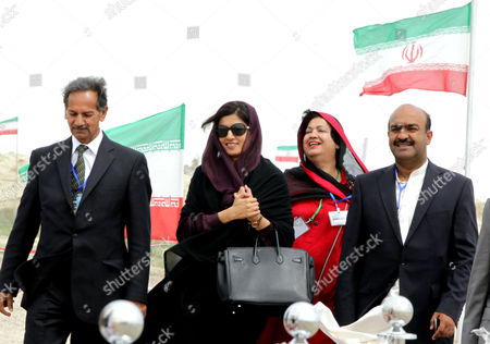 Stock Image of Pakistani Foreign Minister Hina Rabbani Khar (c) Attends the Inauguration Ceremony of a Gas Pipeline in the City of Chabahar South-western Sistan-beluchistan Province Iran 11 March 2013 the 1 600-kilometer Pipeline Would Enable Export of 21 5 Million Cubic Meters of Iranian Natural Gas Per Day to Pakistan at an Estimated Cost of 1 5 Billion Dollars Iran Has Already Constructed More Than 900 Kilometers of the Pipeline on Its Soil and is Also Prepared to Take Care of the Remaining Part Inside Pakistan Epa/abedin Taherkenareh Iran (islamic Republic Of) Chahbahar