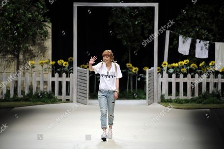 Japanese Designer Chinatsu Wakatsuki Acknowledges the Audience After the Wc Fashion Show During the Mercedes-benz Fashion Week in Tokyo Japan 15 October 2012 the Presentation of the Spring / Summer 2013 Collections Runs From 13 to 20 October Japan Tokyo