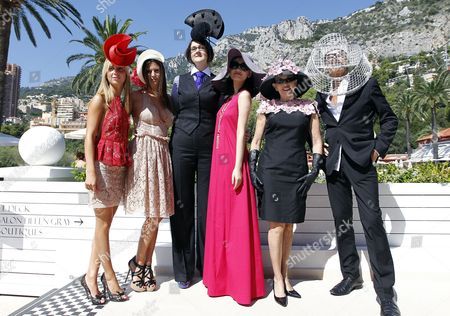 Stock Image of (l-r) Valentina Gangiano Her Sister Silvia Debe Valentine Tong Dieu Hang Victoria Hallman Traver and David Shilling the Members of Jury Pose Before the First Edition of Monte Carlo International Hat Contest by 'Ladies & the City' on the Theme Back to the 50's in Monaco 16 September 2012 Monaco Monaco