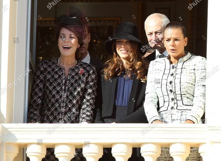 Princess Caroline of Hanover (l) Her Daugther Charlotte Casiraghi (2-l) Her Sister Princess Stephanie of Monaco (r) and Prince Hans Adam Ii of Liechtenstein (2-r) Attend the Army Parade As Part of the Official Ceremonies For the Monaco National Day in Monaco 19 November 2012 Monaco Monaco