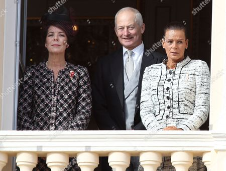Princess Caroline of Hanover (l) Her Sister Princess Stephanie of Monaco (r) and Prince Hans Adam Ii of Liechtenstein (c) Attend the Army Parade As Part of the Official Ceremonies For the Monaco National Day in Monaco 19 November 2012 Monaco Monaco