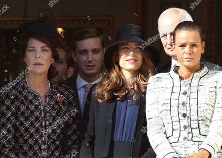 Princess Caroline of Hanover (l) Her Son Her Children Pierre Casiraghi (2-l) and Charlotte Casiraghi (c) Her Sister Princess Stephanie of Monaco (r) and Prince Hans Adam Ii of Liechtenstein (2-r) Attend the Army Parade As Part of the Official Ceremonies For the Monaco National Day in Monaco 19 November 2012 Monaco Monaco