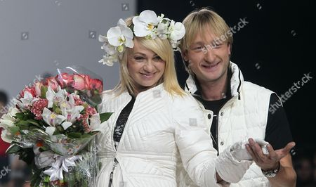 Stock Image of Russian Designers Yana Rudkovskaya and Evgeni Plushenko During Odri Show at the Volvo Fashion Week in Moscow Russia 28 October 2012 the Volvo Fashion Week Moscow Runs From 24 to 29 October Russian Federation Moscow