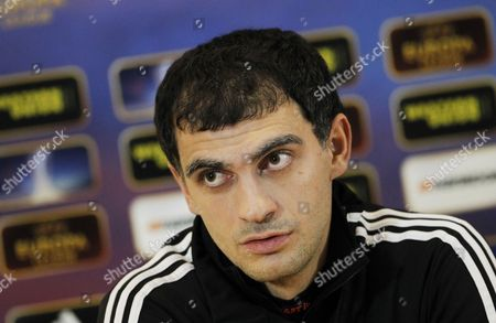 Anzhi Makhachkala's Vladimir Gabulov Attends a Press Conference in Moscow Russia 21 November 2012 Anzhi Makhachkala Will Face Udinese Calcio in the Uefa Europa League Soccer Match on 22 November 2012 Russian Federation Moscow