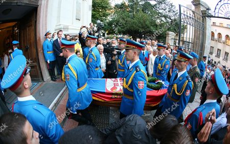 Serbia's Guard of Honour Members Carry a Coffin of the Former Yugoslavia Prince Paul Karadjordjevic (1893-1976) During the Ceremony at Saborna Church in Belgrade 04 October 2012 Royal Family Prince Paul Karadjordjevic (1893-1976) Princess Olga Karadjordjevic (1903-1997) and Their Son Prince Nicholas Karadjordjevic (1928-1954) Will Be Reburied in the Family Vault in Topola Serbia on 06 October 2012 Serbia and Montenegro Belgrade