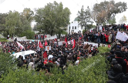 Tunisians Gather at the Tomb of Assassinated Opposition Leader Chokri Belaid to Mark His 40-day Mourning Period at El-jellaz Cemetery in Tunis Tunisia 16 March 2013 the Assassination of Belaid Outside His Home in Tunis on 06 February Triggered Anti-government Protests and Forced Prime Minister Hamadi Jebali to Resign Tunisia Tunis