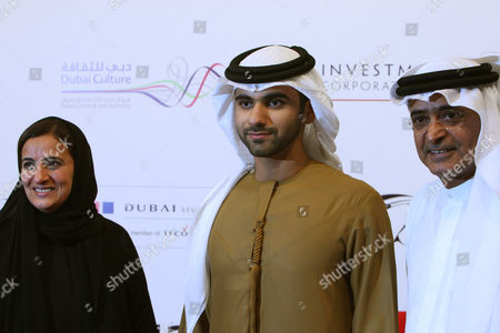 From (l-r) Sheikha Lubna Bint Khalid Al Qasimi Minister For Foreign Trade and was Previously Minister of Economic and Planning of the United Arab Emirates Sheikh Mansour Bin Mohammed Bin Rashid Al Maktoum and Abdul Hameed Juma Chairman of Dubai International Film Festival Arrive on the Red Carpet During the 9th Dubai International Film Festival (diff) 2012 in Dubai United Arab Emirates 09 December 2012 Diff Runs From 09 Until 16 December 2012 United Arab Emirates Dubai